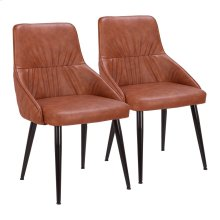 Alden Dining Chair - Set Of 2 - Black Metal, Brown Pu