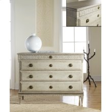 Large Gustavian Four Drawer Commode, Hand Painted Antique Finish. Carved Details. Darker Tone Painted Top.