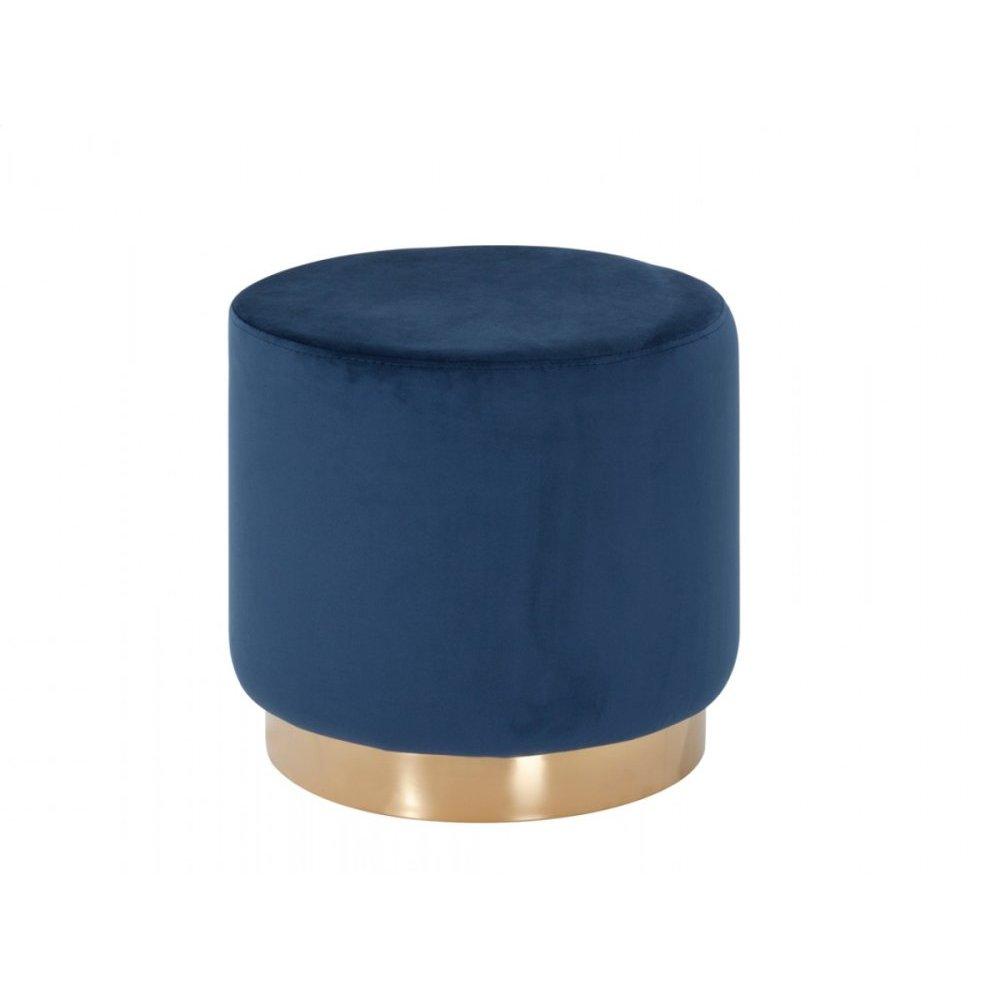 Modrest Santee Modern Blue Velvet & Gold Stool