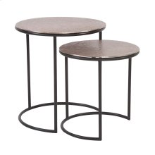 Copper Metal Round Nesting Table Set