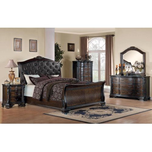 Maddison Brown Cherry California King Four-piece Bedroom Set