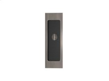 Rectangle Flush Pull - Release Recess Leather In Black Tea And Vintage Nickel