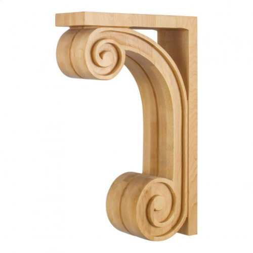 """3"""" x 9"""" x 14"""" Scrolled Wood Bar Bracket Corbel with Fluted Detailing. e Hardware Resources, Inc., Species: Maple"""