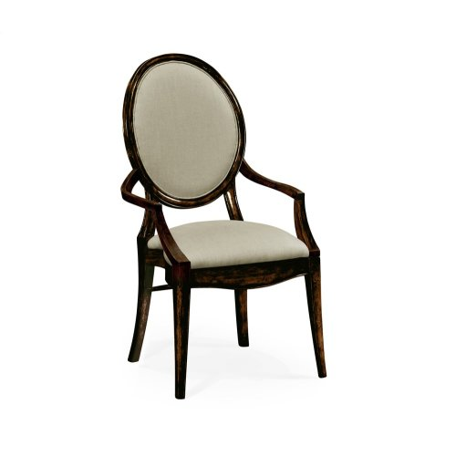 Stacking Spoon Back Honey Black Dining Armchair, Upholstered in Mazo