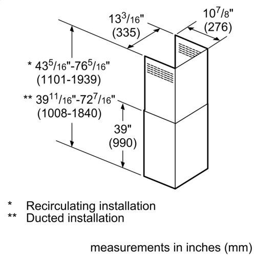 Glass Canopy Chimney Hood Extension Kit