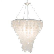 """Large Round Capiz Shell Chandelier With Interior Nickel Plated Socket for One 100w Bulb. Fixture Is 48""""h From Top of Frame To Bottom of Shells. Includes 3' Chrome Chain & Canopy."""