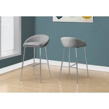 BARSTOOL - 2PCS / GREY FABRIC / CHROME / COUNTER HEIGHT