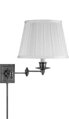 Visual Comfort S2000AN-L Studio 19 inch 100 watt Antique Nickel Swing-Arm Wall Light in Linen