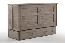 Murphy Cabinet Bed with Tri-Fold Queen Mattress, Folding Tray Nightstands and USB Charging Ports *Driftwood Finish*
