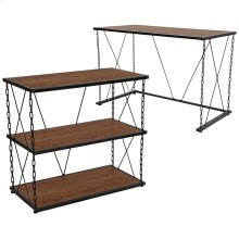 Vernon Hills Collection Antique Wood Grain Finish Computer Desk and Two Shelf Bookshelf with Chain Accent Metal Frame