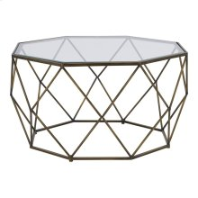 Mabel Coffee Table Glass Top Set of 2, Brushed Brass