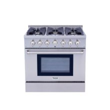 "36"" Pro-style 6 Stainless Steel Burner Gas Range"