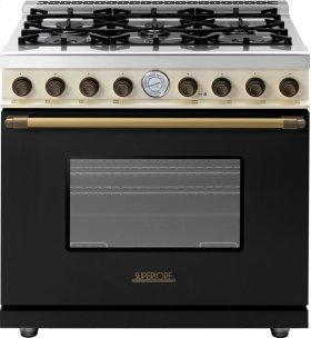 Range DECO 36'' Classic Black dual color, Bronze 6 gas, gas oven