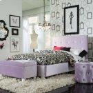 Lavender Velvet Ottoman Product Image