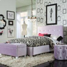 Lavender Velvet Ottoman