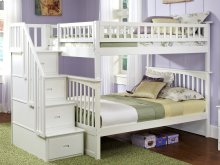 Columbia Staircase Bunk Bed Full over Full in White