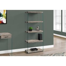 "BOOKCASE - 60""H / TAUPE RECLAIMED WOOD-LOOK /GLASS PANELS"
