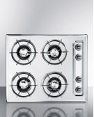 """24"""" Wide Gas Cooktop In Brushed Chrome, With Four Burners and Gas Spark Ignition; Replaces Ztl033 Product Image"""
