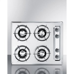 "Summit24"" Wide Gas Cooktop In Brushed Chrome, With Four Burners and Gas Spark Ignition; Replaces Ztl033"