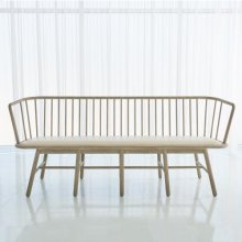 Spindle Long Bench-Beige Leather