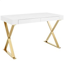 Sector Stainless Steel Office Desk in White Gold