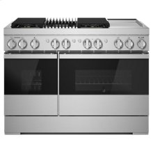 """NOIR 48"""" Dual-Fuel Professional Range with Chrome-Infused Griddle and Gas Grill"""