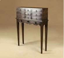 Hunt Club Finished Mahogany Chest of Drawers, Verdigris Patina Brass Mounts