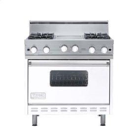 "White 36"" Open Burner Range - VGIC (36"" wide, four burners 12"" wide griddle/simmer plate)"