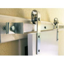 5' Stainless Steel Barn Door Flat Track Hardware - Smooth Iron Basic Style