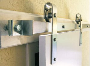 5' Stainless Steel Barn Door Flat Track Hardware - Smooth Iron Basic Style Product Image