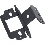 """Full Inset Partial Wrap 3/4"""" Flush Hinge with Decorative Finial Tip Matte Black"""