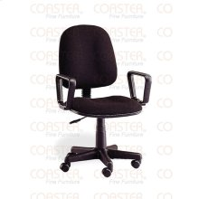 CHAIR/OFFICE W/ARMS+GAS LIFT MTL/FABRIC BLK