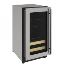 "2000 Series 18"" Beverage Center With Stainless Frame (lock) Finish and Left-hand Hinged Door Swing"
