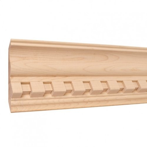 """5-1/2"""" x 1-1/4"""" Crown Moulding with 1"""" Dentil Species: Hard Maple. Priced by the linear foot in 8' sticks with carton quantities of 56'."""