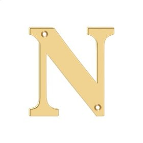 """4"""" Residential Letter N - PVD Polished Brass"""