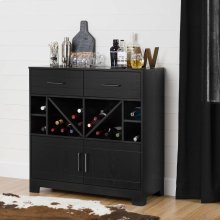 Bar Cabinet and Bottle Storage - Black Oak