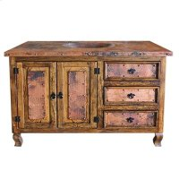 """30"""" top with single sink Copper Vanity W/ Copper Top, 2 Doors, 3 Drawers Product Image"""