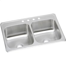 "Elkay Celebrity Stainless Steel 33"" x 21-1/4"" x 6-7/8"", Equal Double Bowl Drop-in Sink"