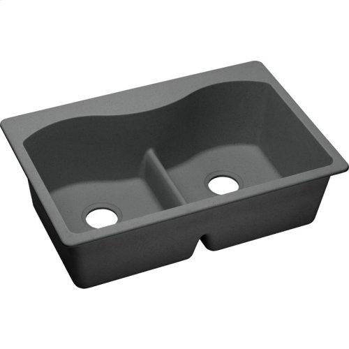 """Elkay Quartz Classic 33"""" x 22"""" x 9-1/2"""", Equal Double Bowl Drop-in Sink with Aqua Divide, Dusk Gray"""