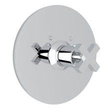 Polished Chrome Avanti Thermostatic Trim Plate Without Volume Control with Cross Handle