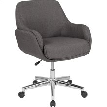 Rochelle Home and Office Upholstered Mid-Back Chair in Dark Gray Fabric