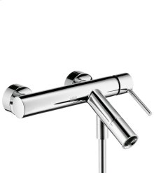Brushed Gold Optic Single lever bath mixer for exposed installation with round lever handle