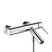 Chrome Single lever bath mixer for exposed installation with round lever handle
