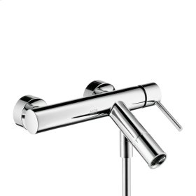 Brushed Bronze Single lever bath mixer for exposed installation with round lever handle