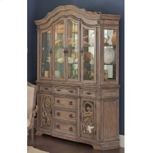 Ilana Traditional Antique Java China Cabinet With Glass Doors