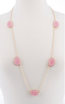 BTQ Small Pink Stones on Gold Chain Necklace