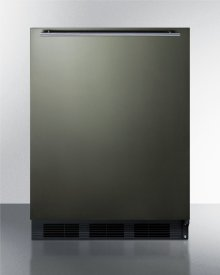 Built-in Undercounter All-refrigerator for Residential Use, Auto Defrost With A Black Stainless Steel Wrapped Door, Horizontal Handle, and Black Cabinet