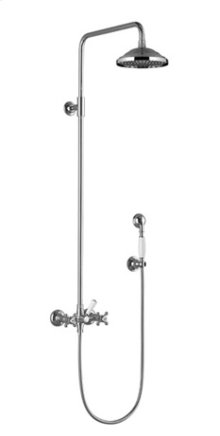 Shower mixer for wall-mounted installation with rainhead and hand shower set - chrome