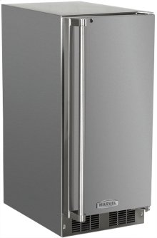 """Marvel 15"""" Outdoor Clear Ice Machine - Solid Stainless Steel Door, Right Hinge with Factory Installed Pump"""