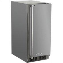 """Marvel 15"""" Outdoor Crescent Ice Machine - Solid Stainless Steel Door, Right Hinge - Floor Model"""